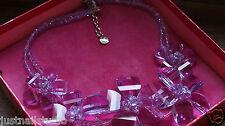 Butler Wilson Lilac Glass Crystal Faceted Flower Necklace Bracelet Gift Box Set