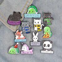 Cartoon Animal Enamel Pins Custom Panda Cat Turtle Fox Rabbit Brooches Bag Cloth