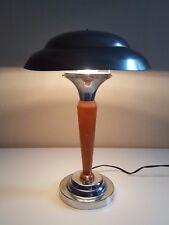 XX  LAMPE CHAMPIGNON BOIS ET CHROME ART DECO XX