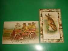 JC220 Vntage LOT 2 RARE Easter Postcards Rabbit Bunny Chics Driving Car Fantasy