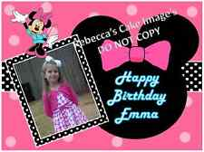 EDIBLE CAKE IMAGE CUSTOM MINNIE MOUSE ICING SHEET PARTY TOPPER PERSONAL PHOTO