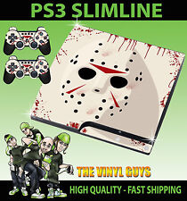 PLAYSTATION PS3 SLIM JASON VOORHEES MASK BLOODY HORROR GRIM SKIN & 2 PAD SKINS