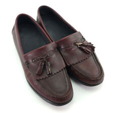 Mens 11.5 Hush Puppies Shoes Brown Leather Slip On Tassel Kiltie Penny Loafers