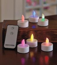 Set of 6 Remote Controlled Flameless LED Tealight Candles - Colorful Lights.