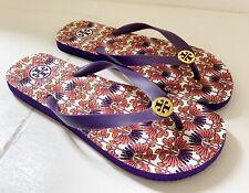 TORY BURCH Women's Flip Flip Sandals Size 8 Purple Multicolor Floral