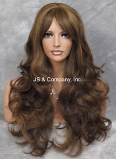 Extra LONG HUMAN HAIR Blend Full Wig Wavy Heat OK Brown Auburn Mix WBNY 4-27-30