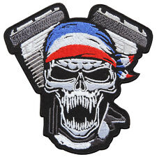 Skull Skeleton Ghost V-Twin Engine Biker Rider Motorcycles Iron on Patches SK062