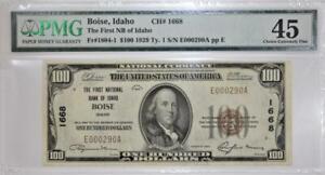 1929 Boise, Idaho Type 1 $100 National Currency; TFNB of Idaho; CH# 1668; PMG-45