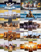 Running Horses Painting Strong Horse Poster Wall Art Home Decor 5pc Canvas Print