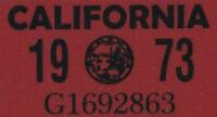 US USA California Kennzeichen License Plate Number Plate Jahres Aufkleber 1973