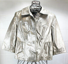 STYLE & CO Metallic Silver Sparkle Genuine Leather Jacket Swing Coat M