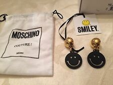 AW15 Moschino Couture X Jeremy Scott Smiley Face Black Metal Clip On Earrings