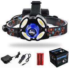 Linterna Frontal Recargable de cabeza luz LED 000LM T6 4X COB ZOOM Impermeable