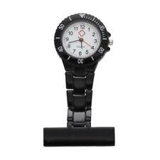 Black Quartz Movement Nurse Brooch Fob Tunic Pocket Metal Watch E3P6