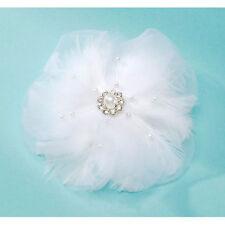 """DAVID TUTERA HAIR COMB SILK & FEATHER FLOWER BRIDAL HAIR COMB – WHITE - 4"""""""