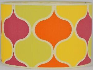 "NEW Drum Lamp Shade 15"" Dia 10"" H Modern India Orange Green Salmon Fabric"