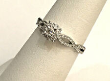 10k White Gold Halo Vintage Style Infinity Bypass Shank Engagement Ring 0.33ct