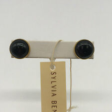 Sylvia Benson Gold-Tone Black Stud Earrings
