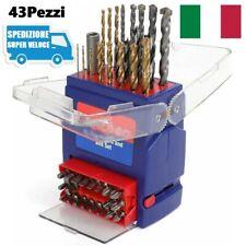 Set Punte Trapano 43 Pz HSS Metallo Muro Legno Inserti Magnetici Avvitatore Bit