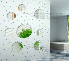 8pcs Silver Circle Round Modern Decoration DIY 3D Mirror Acrylic Wall Sticker
