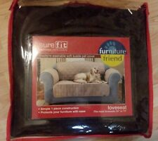 NEW SURE FIT QUILTED FAUX SUEDE CHOCOLATE BROWN WASHABLE PET SLIPCOVER LOVESEAT