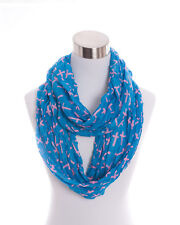 Blue and Pink Crinkle Cross Infinity Scarf