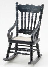 Dollhouse Miniatures 1:12 Scale Gloucester Rocking Chair, Black #Cla10929