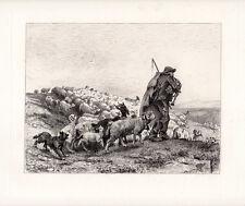 1800s PAUL VAYSON Original Pastoral Etching Return of the Herd Signed Framed COA