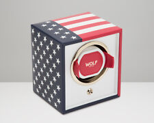 Wolf Automatic US Navigator Cub Single Watch Winder Battery Powered US Flag