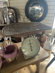 Antique Vintage Waymaster Baby Weighing Scales with Wicker Basket