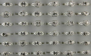 Wholesale Lots 50pcs Fashion Jewelry Silver Color Mixed Alloy Women Men's Rings