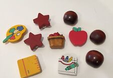 Lot 10 Wooden School Themed Button Covers