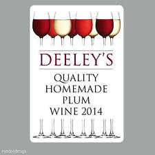 8 x Personalised Homemade Wine Making Bottle Labels Stickers home brew -N325