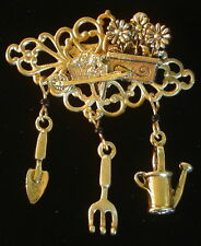 In Her Garden Brooch Watering Can Spade Gold Overlay