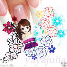 11 Sets Flower Nail Art Decal Water Slide Transfer Temporary Tattoo Stickers W46