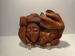 Leather Art - 3D Faces Mask Sculpture - Wall Hanging