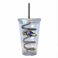 NFL Baltimore Ravens 16 oz Double Wall Acrylic Tumbler with Swirl Straw