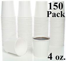150 Pack 4 oz. White Hot Paper Sampling Cups for Espresso Coffee Tea Beverage