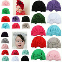Toddler Kids Girls Baby Turban Knotted Bow Hat Cap Headband Hair Band Headwear