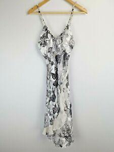 Renato Nucci Designer Silk Floral Balck and White Dress size 38 fits UK 6/8