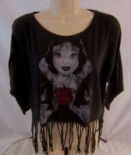 Disney Snow White Womens Small Black Fringe Black Blouse Top Shirt CB2D