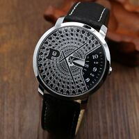 New PAIDU Turntable Leather Band Black Dial Quartz Wrist Watch Mens Womens Gift