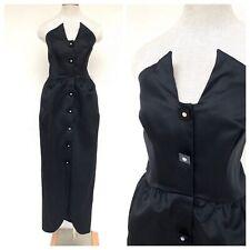 1980s Victor Costa designer strapless black party dress