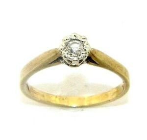 Ladies/womens 9ct gold engagement ring set with a solitaire diamond, UK size P