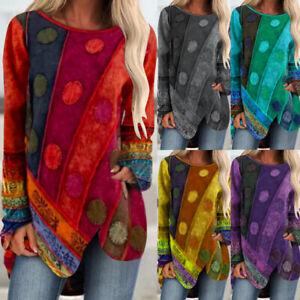 Womens Long Sleeve Ladies Tee Boho Loose Shirt Pullover Sweatshirt Blouse Tops