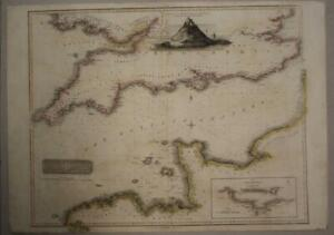 ENGLISH CHANNEL ENGLAND & FRANCE 1814 THOMSON LARGE ANTIQUE COPPER ENGRAVED MAP