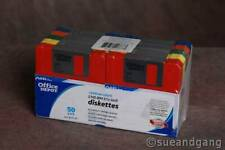 """NEW 50 Office Depot 2HD 1.44 MB IBM Formatted 3.5"""" Rainbow Diskettes FLAW-read"""