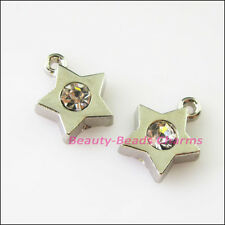 4Pcs Dull Silver Lovely Tiny Star Crystal Charms Pendants 10.5x13mm