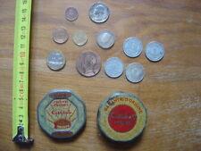Boite ancienne RUBAN PHEBUS CARBEL avec des pieces de monnaie COLLECTION money