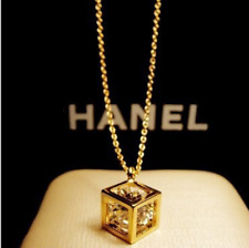 Fashion Micro-inlay Cubic Zirconia Gold Lovely *Cube* Pendant Necklace